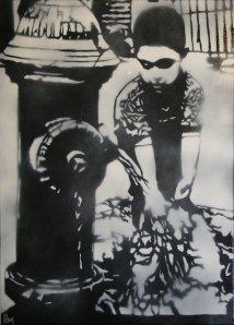 Custom hand cut stencil, acrylic & spray paint