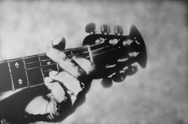 """Guitar"" - 36"" x 24"" Spray Paint on Canvas RAY FERRER"
