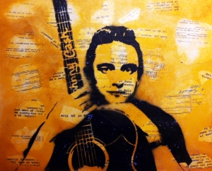 """Johnny Cash"" Ray & Rhian Ferrer - 2013 Mixed Media on Canvas 20"" x 16"""