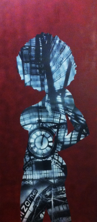 """City Silhouette"" Spray Paint 6ft x 2.5ft Wood Panel Ray Ferrer - 2013"