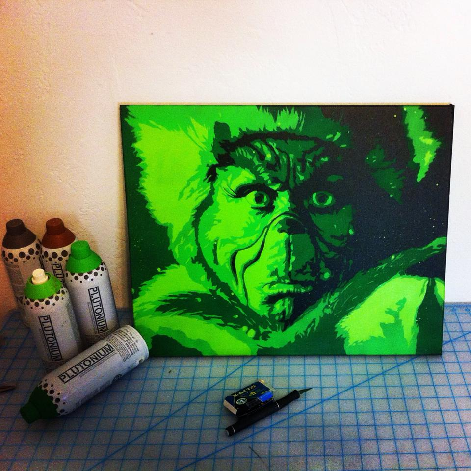 Grinch Spray Paint On Canvas By Me